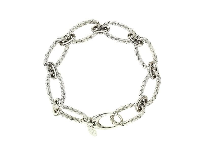 14k White Gold  Italian Contemporary Diamond Link Bracelet