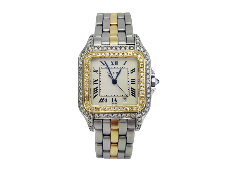 Cartier Panthere Two Tone Diamonds Womens Watch