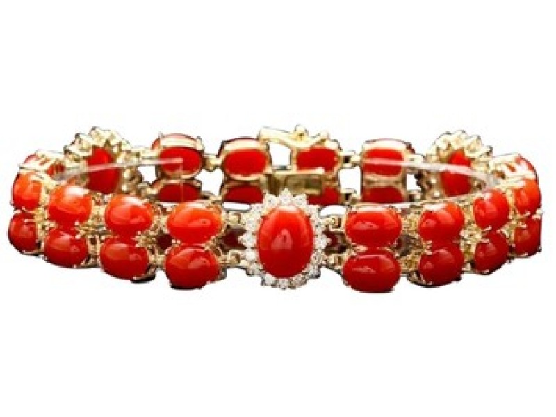 14K Yellow Gold Corals and Diamond Bracelet