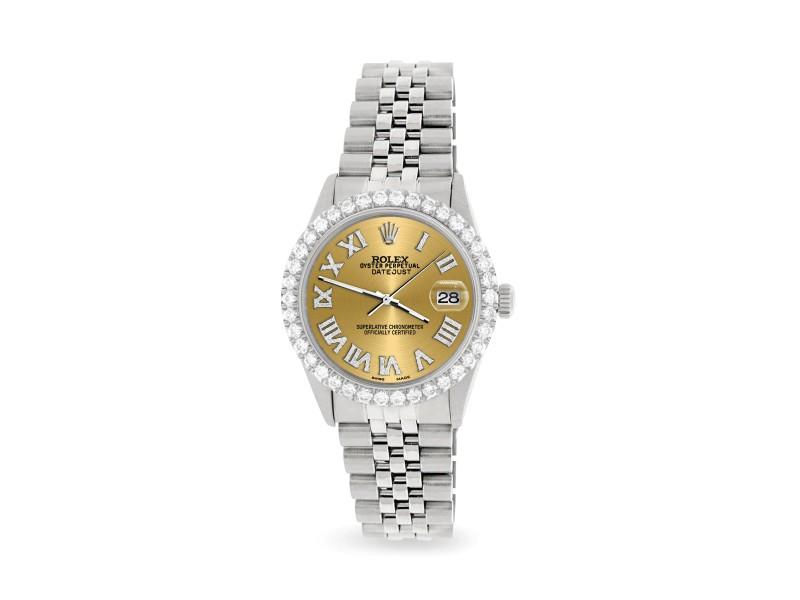 Rolex Datejust 36MM Steel Watch with 3.3CT Diamond Bezel/Champagne Diamond Roman Dial