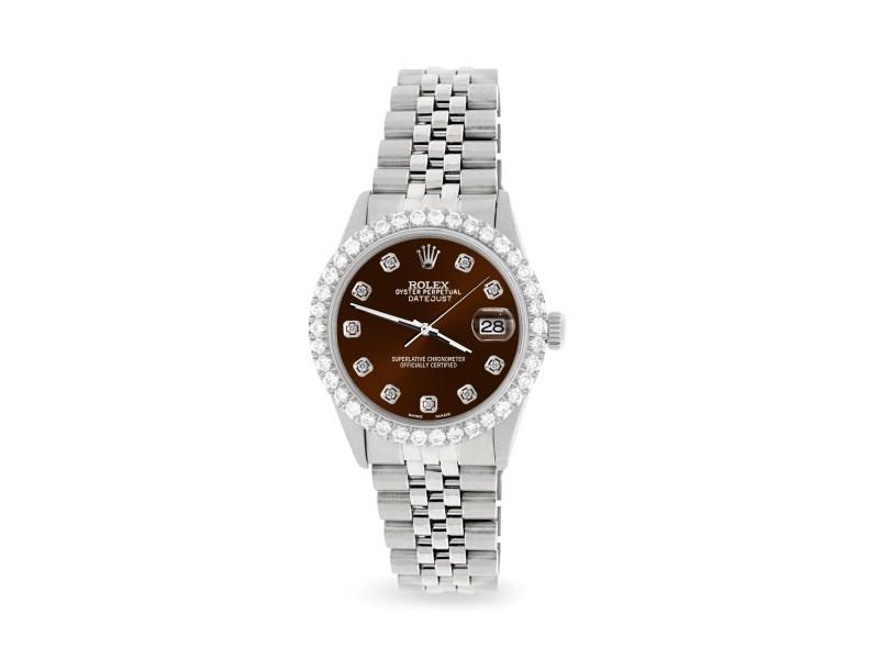 Rolex Datejust 36MM Steel Watch with 3.05Ct Diamond Bezel/Chocolate Diamond Dial
