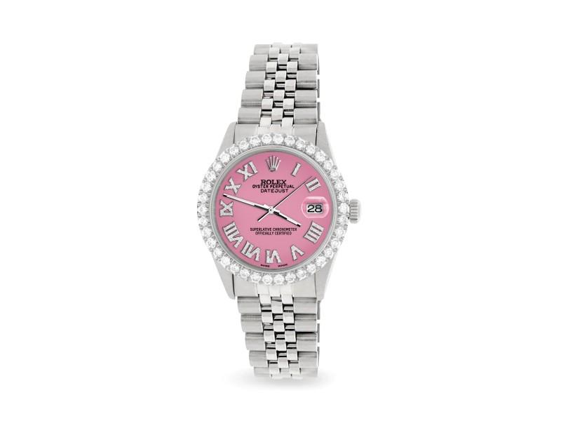 Rolex Datejust 36MM Steel Watch with 3.3CT Diamond Bezel/Hot Pink Diamond Roman Dial