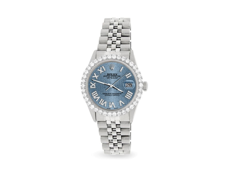 Rolex Datejust 36MM Steel Watch with 3.3CT Diamond Bezel/Ice Blue Jubilee Diamond Roman Dial