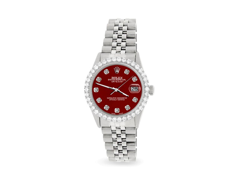 Rolex Datejust 36MM Steel Watch with 3.05Ct Diamond Bezel/Imperial Red Diamond Dial