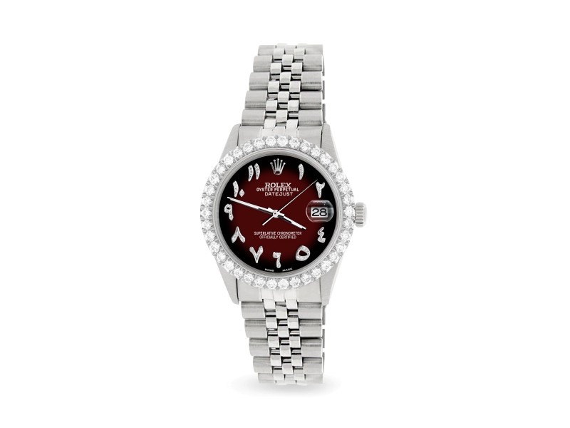 Rolex Datejust 36MM Steel Watch with 3.35CT Diamond Bezel/Maroon Vignette Diamond Arabic Dial