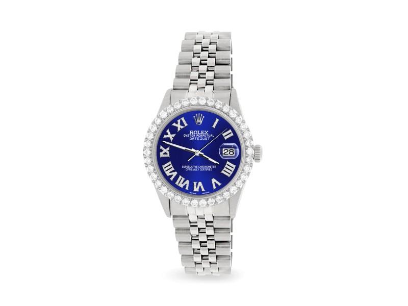 Rolex Datejust 36MM Steel Watch with 3.3CT Diamond Bezel/Navy Blue Diamond Roman Dial