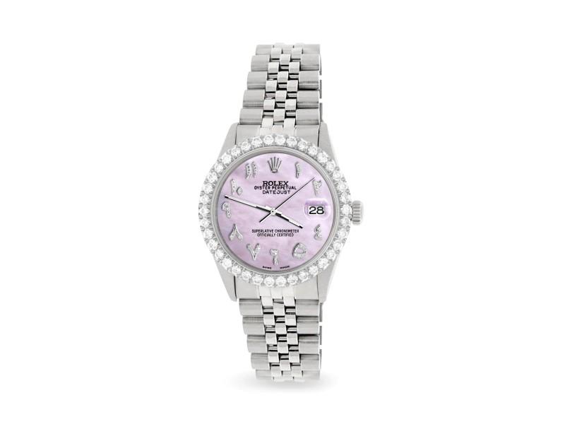 Rolex Datejust 36MM Steel Watch with 3.35CT Diamond Bezel/Pink Pearl Diamond Arabic Dial