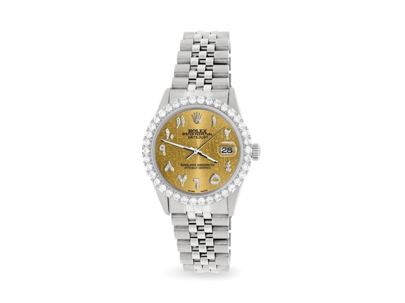 Rolex Datejust 36MM Steel Watch with 3.35CT Diamond Bezel/Champagne Diamond Arabic Dial