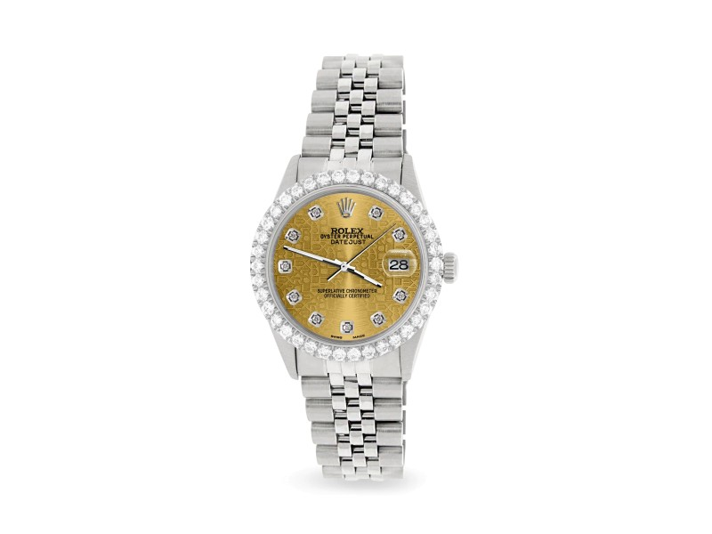 Rolex Datejust 36MM Steel Watch with 3.05Ct Diamond Bezel/Champagne Diamond Dial