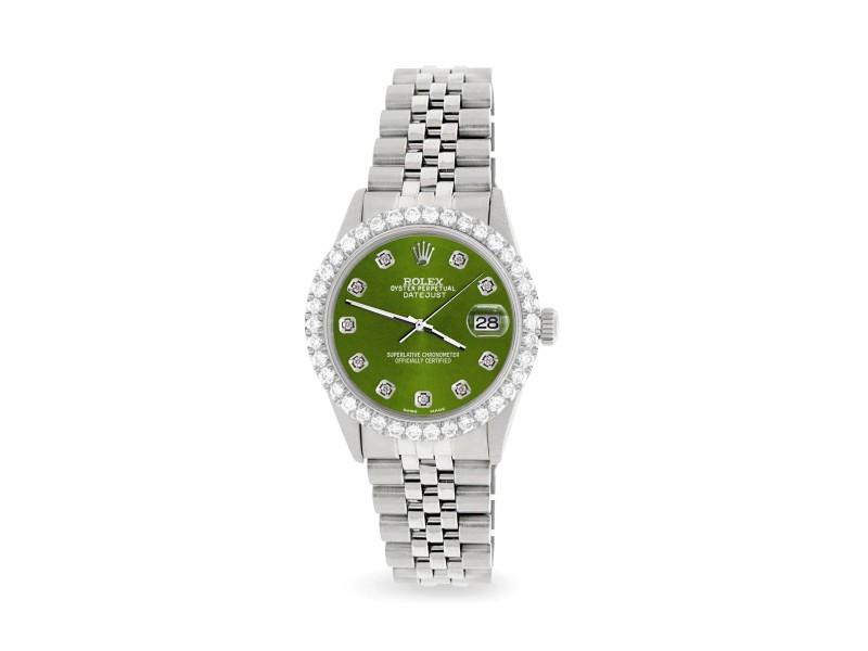 Rolex Datejust 36MM Steel Watch with 3.05Ct Diamond Bezel/Royal Green Diamond Dial