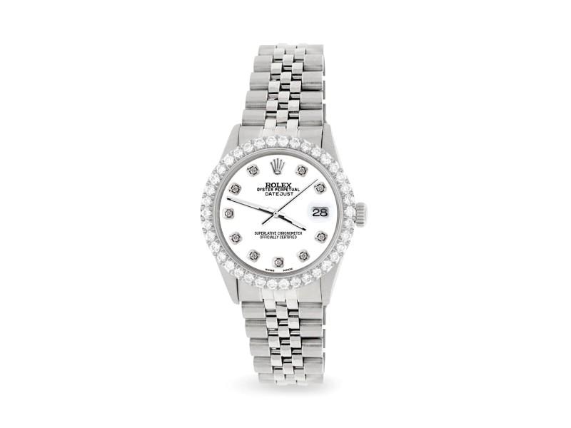 Rolex Datejust 36MM Steel Watch with 3.05Ct Diamond Bezel/White Pearl Diamond Dial