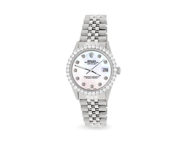 Rolex Datejust 36MM Steel Watch with 3.05Ct Diamond Bezel/White Diamond Dial