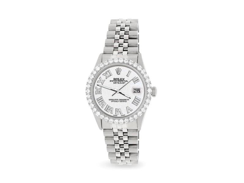 Rolex Datejust 36MM Steel Watch with 3.3CT Diamond Bezel/White Jubilee Diamond Roman Dial
