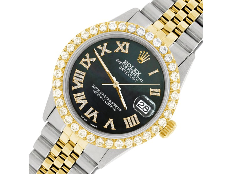 Rolex Datejust 36mm 2-Tone WATCH with 3.10ct Diamond Bezel/Black MOP Diamond Roman Dial