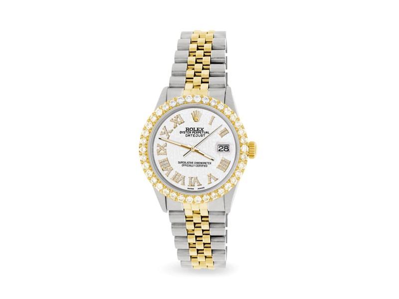 Rolex Datejust 36mm 2-Tone WATCH with 3.10ct Diamond Bezel/White Jubilee Diamond Roman Dial