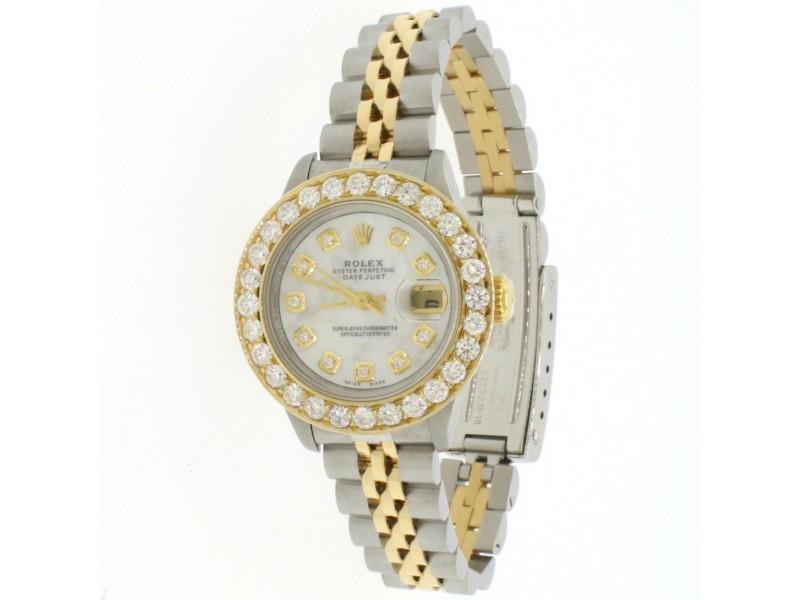 Rolex Datejust 26mm Yellow gold 2.0CT Diamond Bezel Watch w/ White MOP Diamond Dial