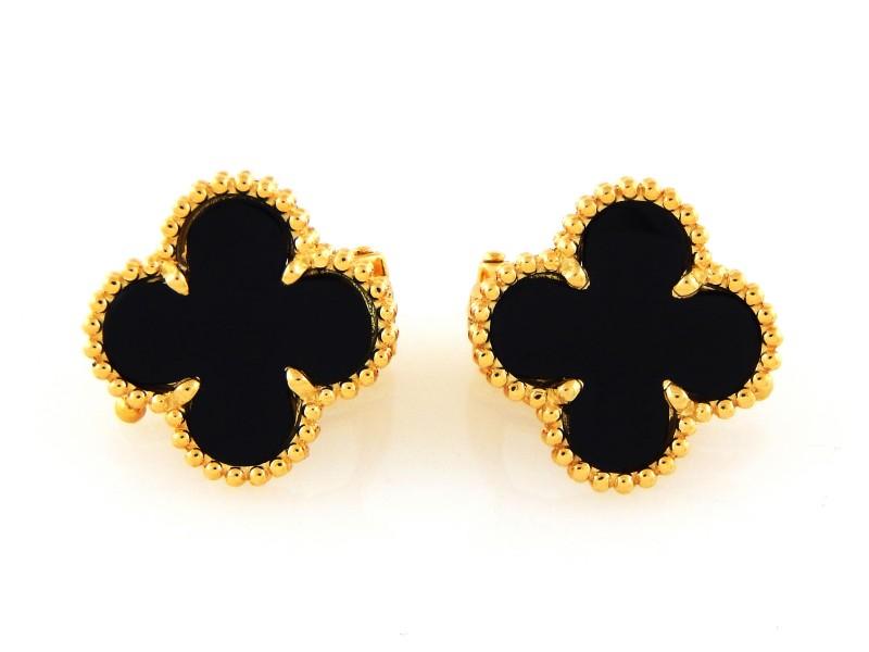 Van Cleef & Arpels 18K Yellow Gold & Black Onyx Earrings