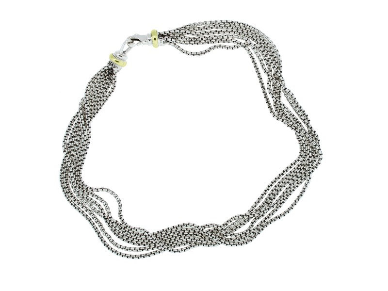 David Yurman Sterling Silver & 18K Yellow Gold Multi-Strand Chain Necklace
