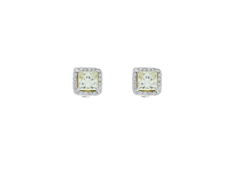 2.01 Carat Total Fancy Yellow Princess Cut Diamond Stud Earrings