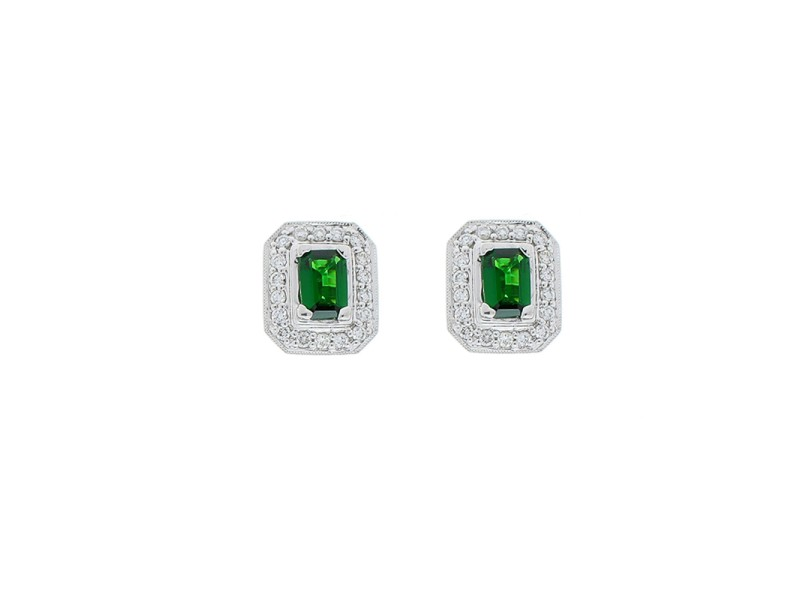 1.18 Carat Total Emerald Cut Green Tsavorite and Diamond Stud Earring