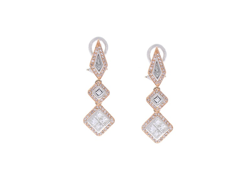 1.79 Carat Total Fancy Shape Two-Tone Diamond Drop Earring