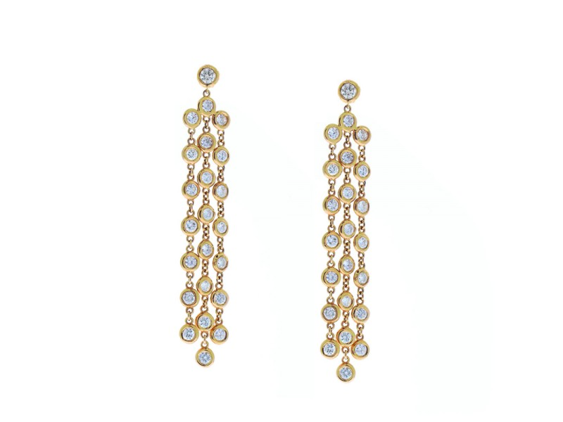 2.27 Carat Total Bezel Set Diamond Chandelier Earrings in 14 Karat Rose Gold