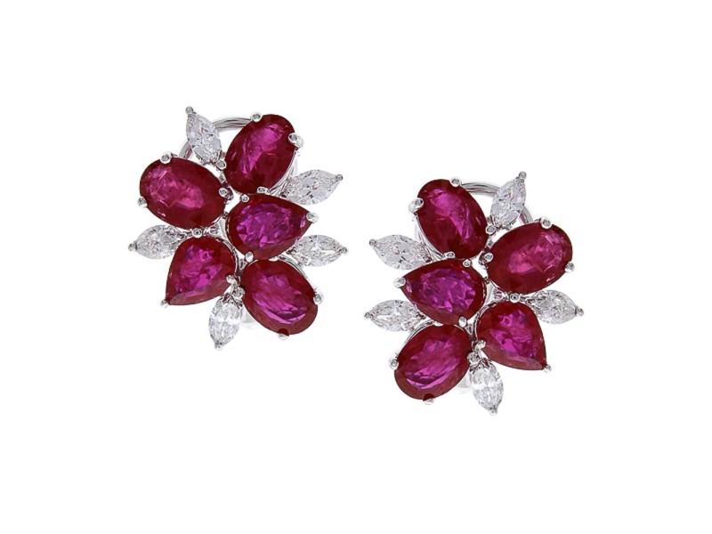 12.45 Carat Total Ruby and Diamond Earrings in 18 Karat White Gold
