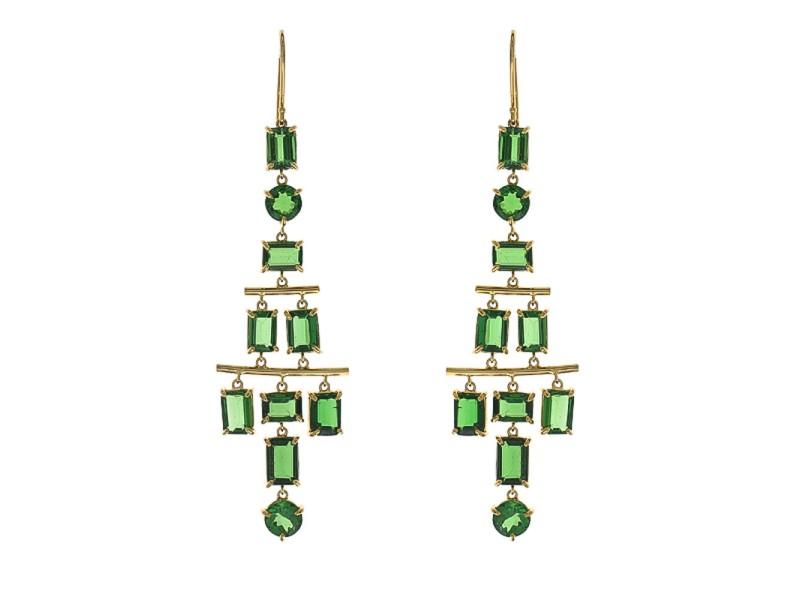 14.71 Carat Total Tsavorite Chandelier Earrings in 18 Karat Yellow Gold