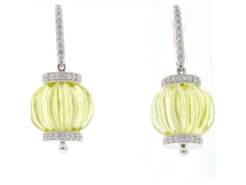 60 Carat Total Lemon Quartz and Diamond Earrings in 14 Karat White Gold