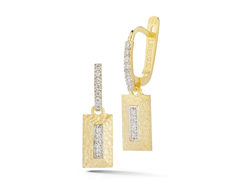 I.Reiss Matte And Hammer-Finished Rectangle Earrings