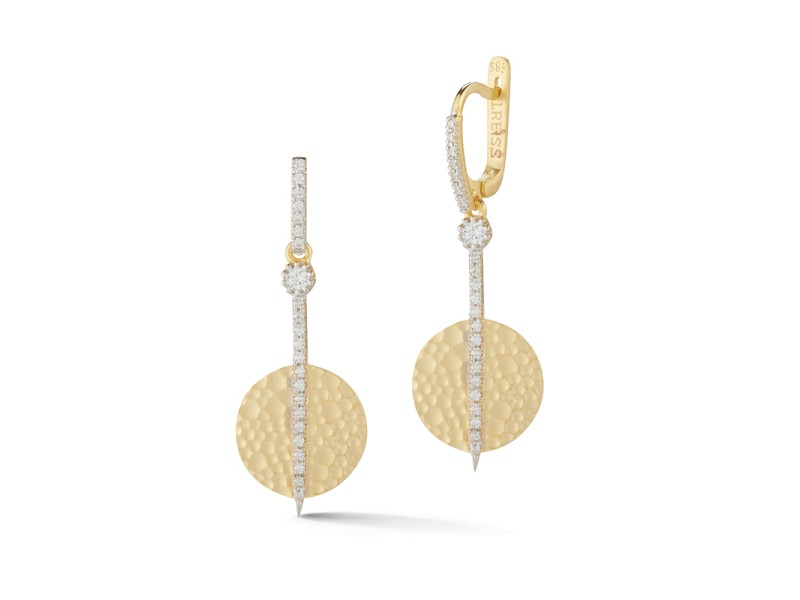 I.Reiss Matte And Hammer-Finished Drop Circle Earrings