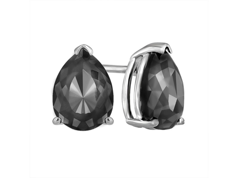14K White Gold Luv Eclipse 2ct  Patented Cut Treated Black Diamond Earrings