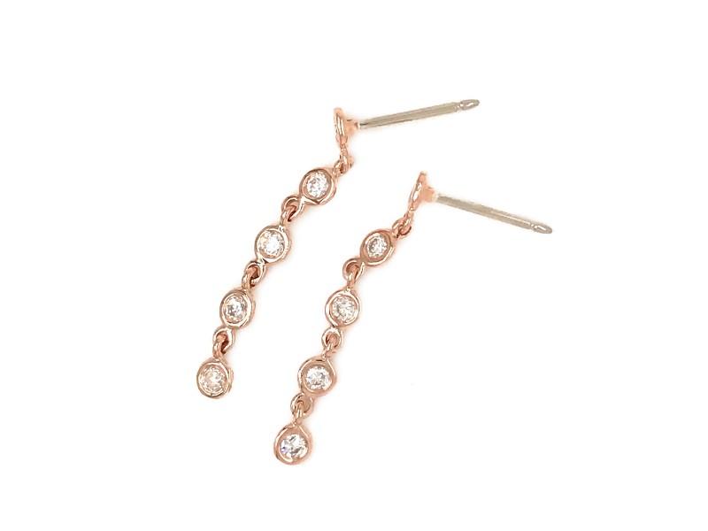 FAB DROPS 14k Pink Gold Round Diamond Drop Earrings