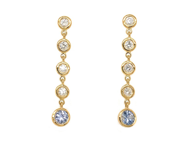 FAB DROPS 18K Yellow Gold Diamond and Light Blue Ceylon Sapphire Drop Earrings