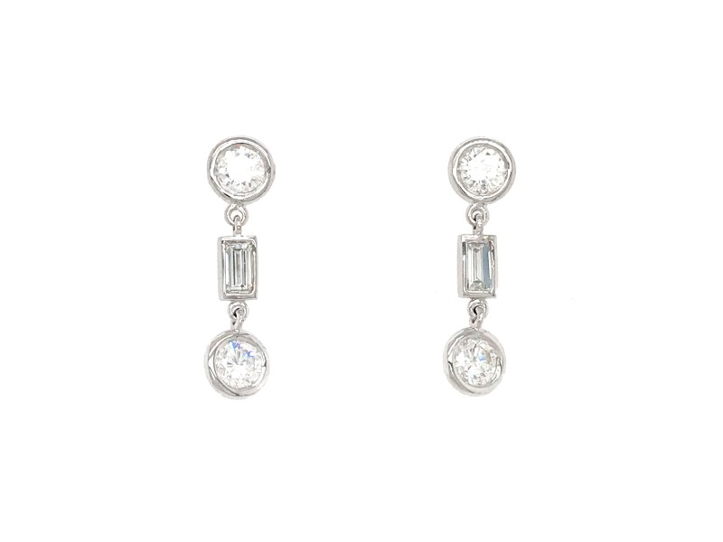 FAB DROPS 14k White Gold Baguettes and Round Diamond Drop Earrings