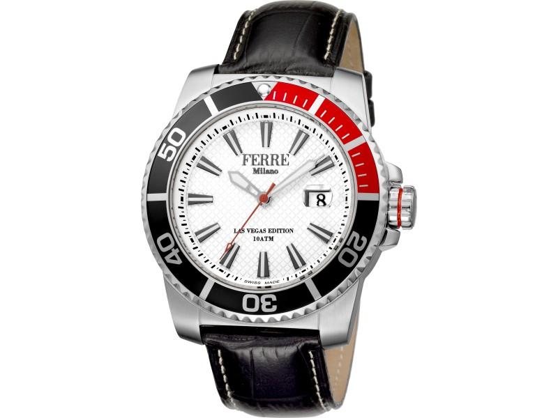 Ferre Milano White Black Calfskin Leather FM1G052L0011 Watch