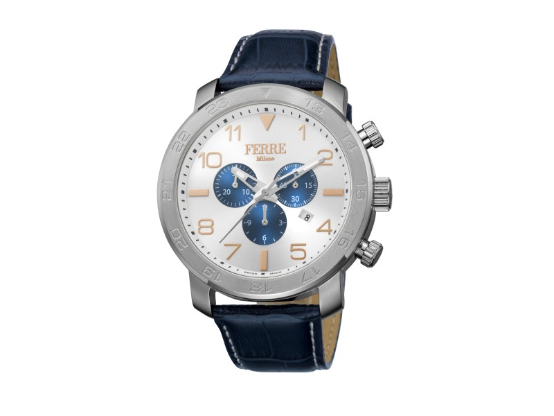 Ferre Milano Silver Dark Blue Calfskin Leather FM1G061L0021 Watch