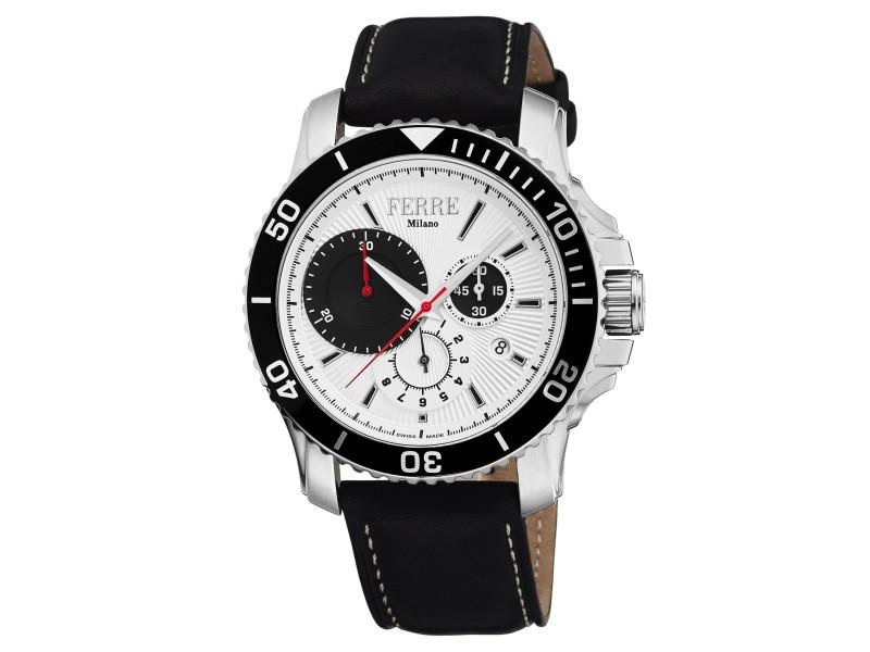 Ferre Milano White Black Calfskin Leather FM1G070L0011 Watch