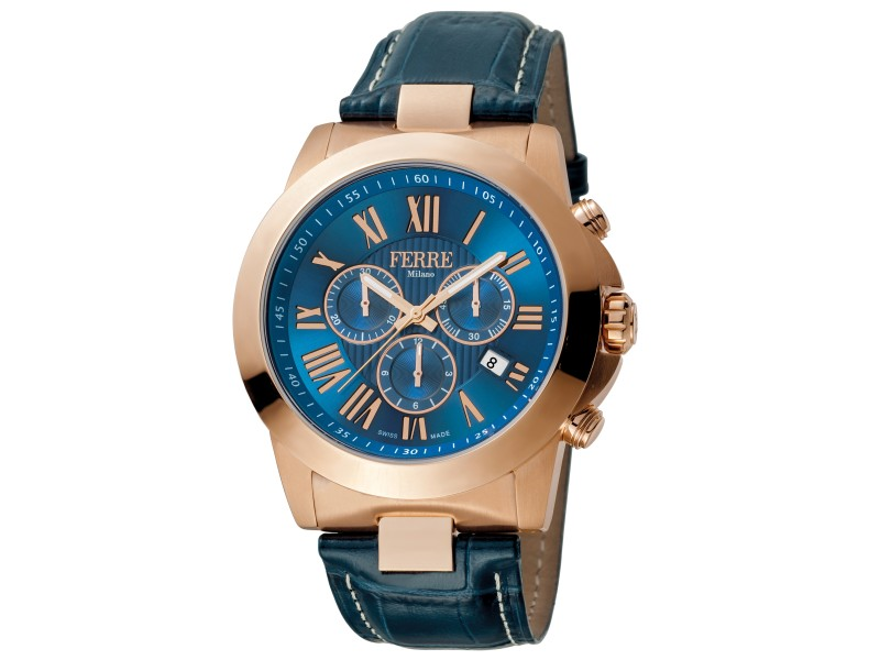 Ferre Milano D. Blue Dark Blue D. Blue Leather Strap FM1G079L0021 Watch