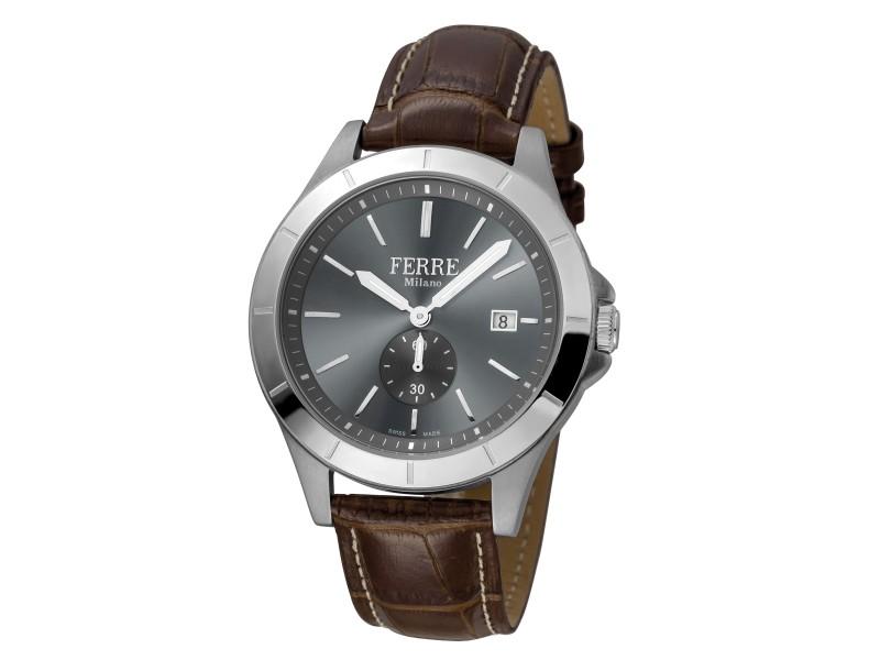Ferre Milano Anthracite Dark Brown D. Brown Leather Strap FM1G080L0011 Watch