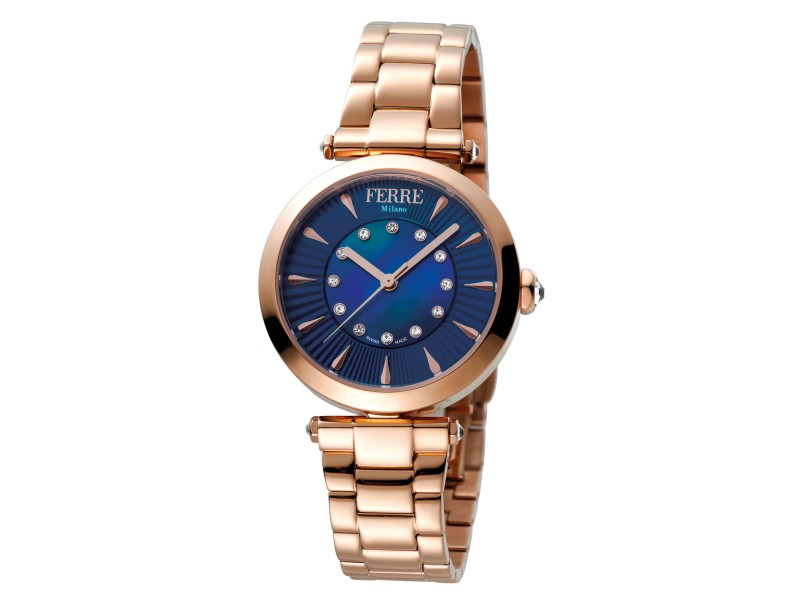 Ferre Milano Dark Blue Rose Gold Stainless Steel FM1L075M0031 Watch