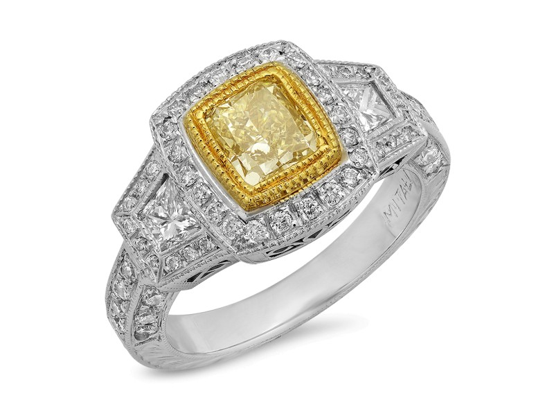 18K White & Yellow Gold Fancy Yellow Gia Certified Ring