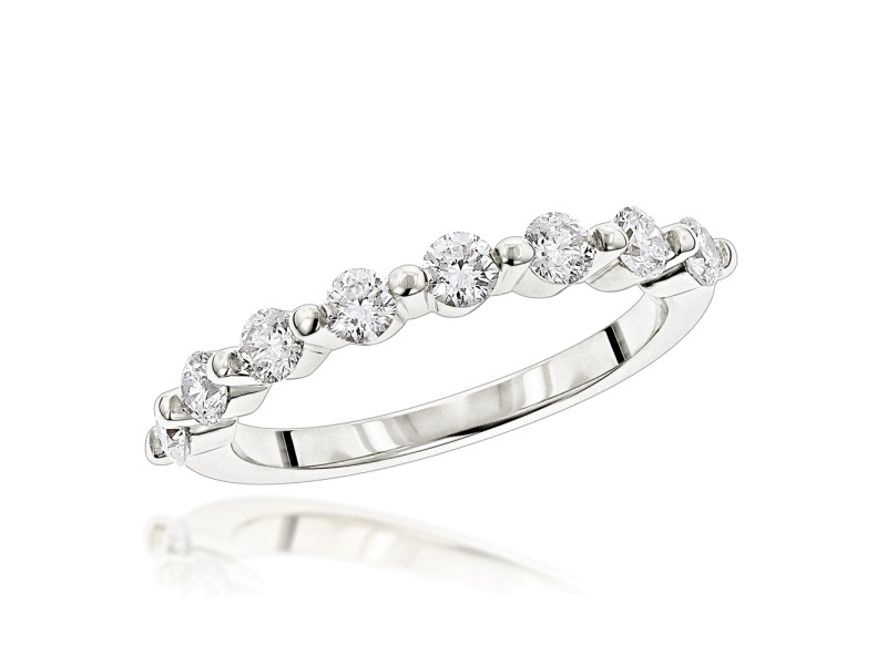 Ultra Thin Ladies 1 Row Diamond Ring 0.5ct 14k White Gold Gold Ring