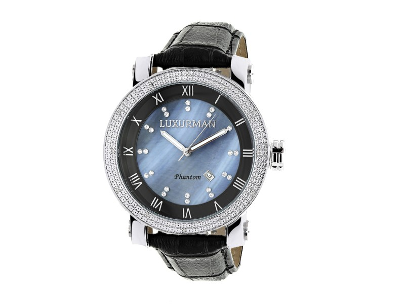 Luxurman Phantom 2137 Stainless-Steel Quartz .18ct Diamond Blue Dial Mother Of Pearl Mens Watch