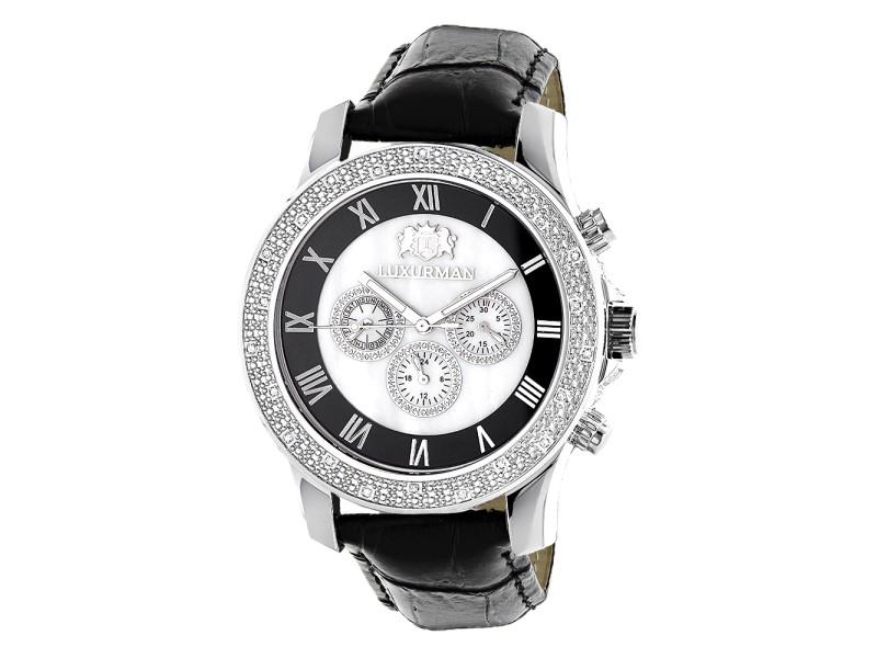Luxurman Raptor 2152 Stainless-Steel Quartz 0.25ct Diamond White Dial Freeze Mens Watch