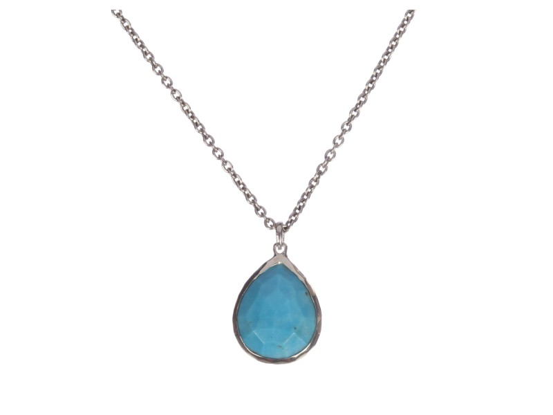 Ippolita Sterling Silver Large Turquoise Teardrop Pendant Necklace