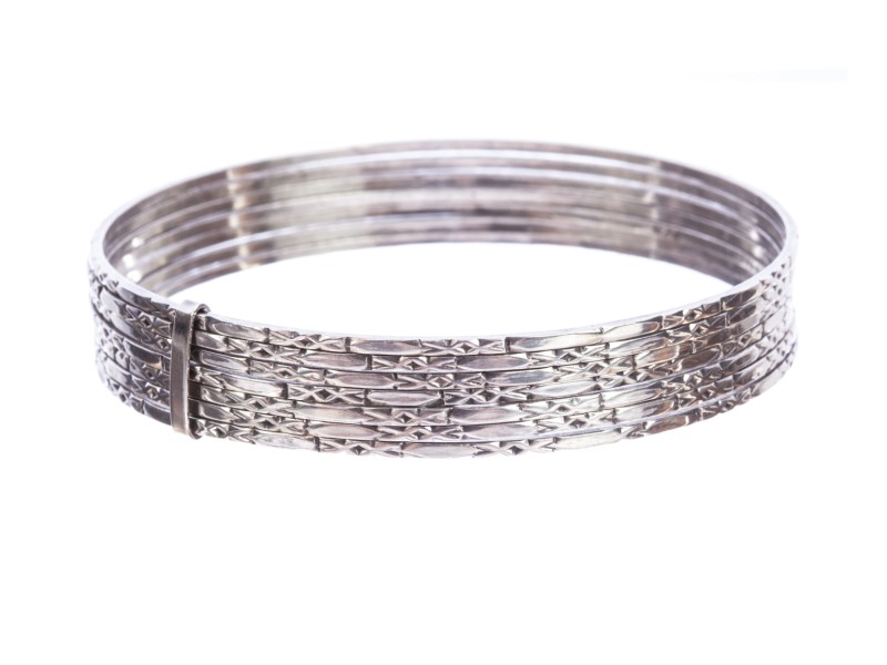 Mexican Etched Sterling Silver Bangle Set