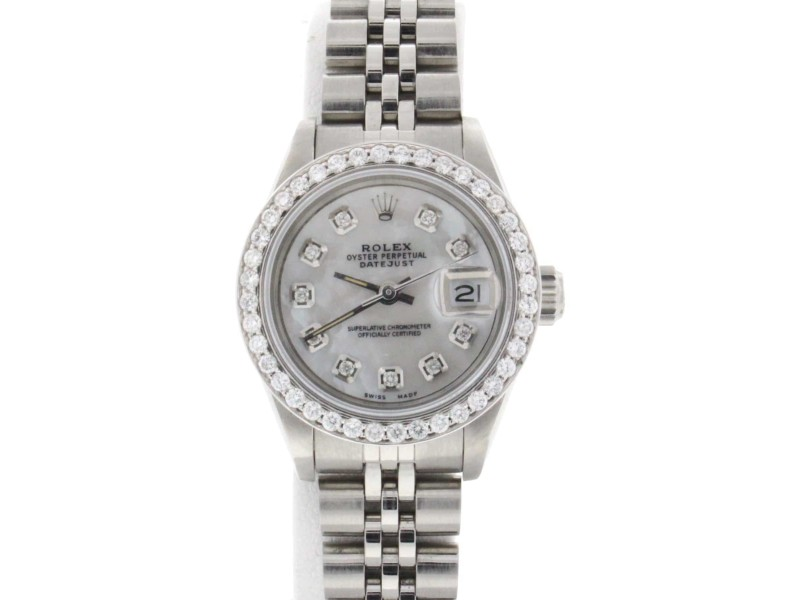 Rolex Datejust Ladies 26MM Automatic Watch White MOP Diamond Dial/Diamond Bezel