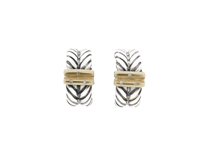 Sterling Silver Earrings with Diamonds and 18k Gold