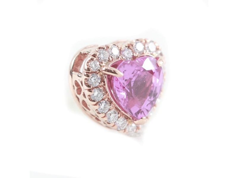 14K Rose Gold Pink Sapphire and Diamond Pendant